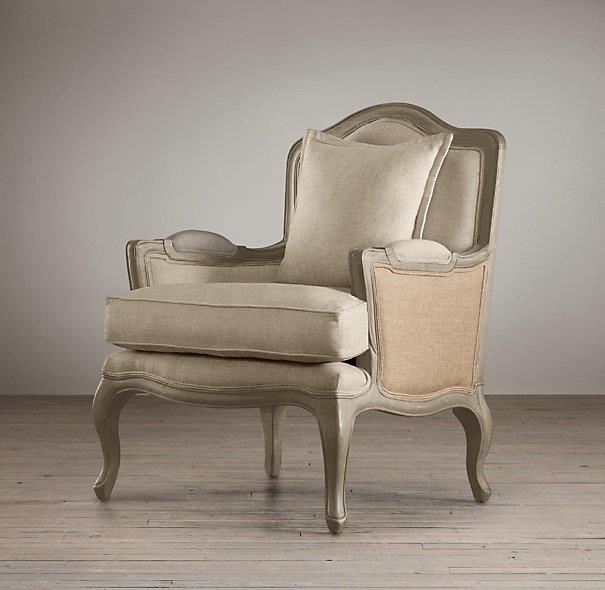 wing back chair with burlap