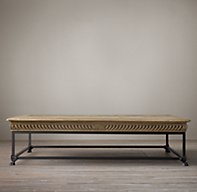 wooden top coffee table with iron legs