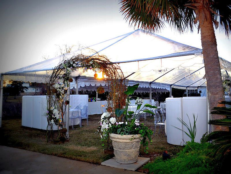 Enjoy a beautiful sunset with a Clear Top Tent from Blue Rents.