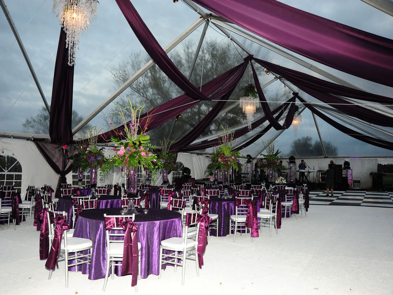 Event rentals in mobile al and the greater gulf coast party rental wedding royal colors are a great addition to the clear top tent from blue rents junglespirit