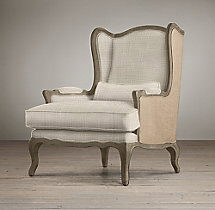 Where to find CHAIR WING BACK IVORY WITH BURLAP in Mobile