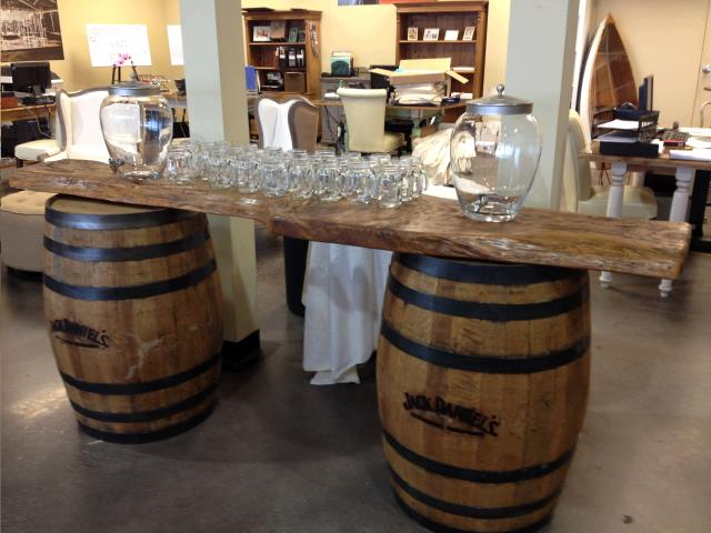 Where To Rent WOOD SLAB BAR TOP BARRELS NOT INCLUDED In Mobile Alabama,  Prichard,
